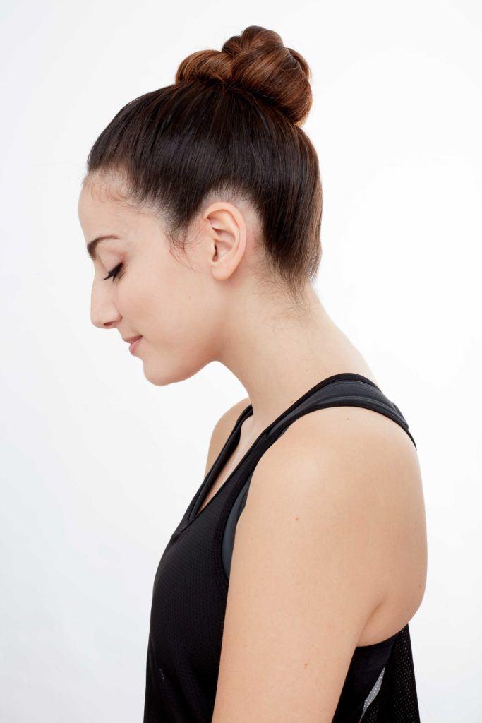 gym hair high twist bun side