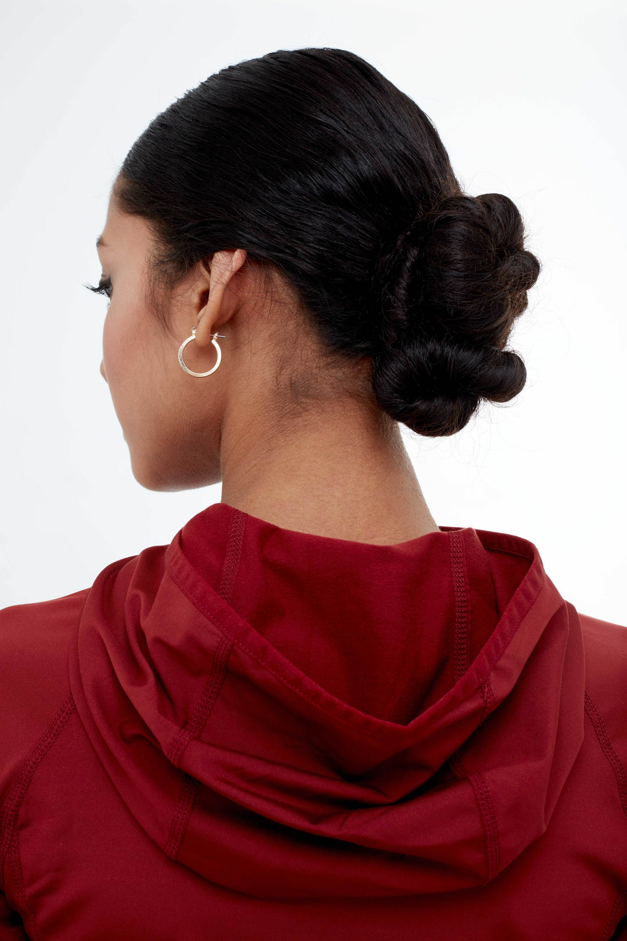 gym hair low twisted chignon back