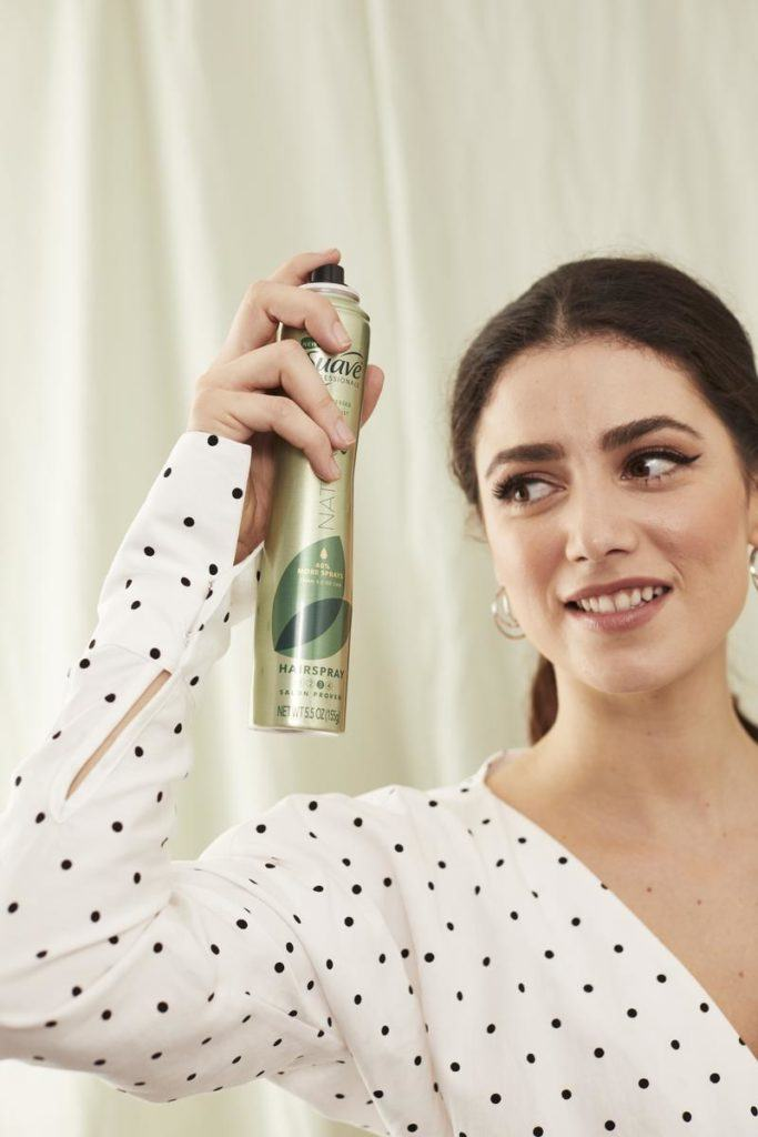 volumized ponytail: suave hairspray