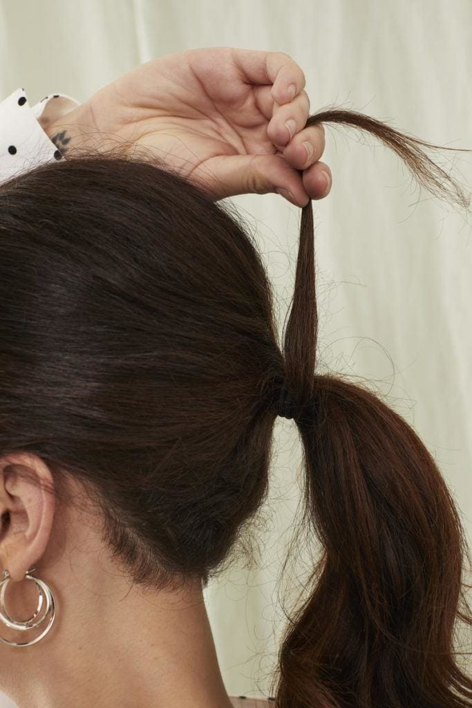 volumized ponytail: wrap hair