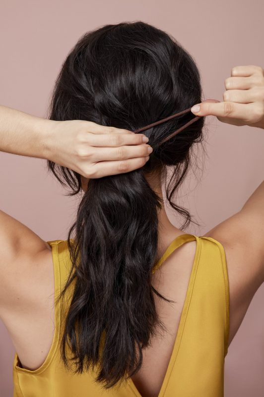 messy side ponytail create pony
