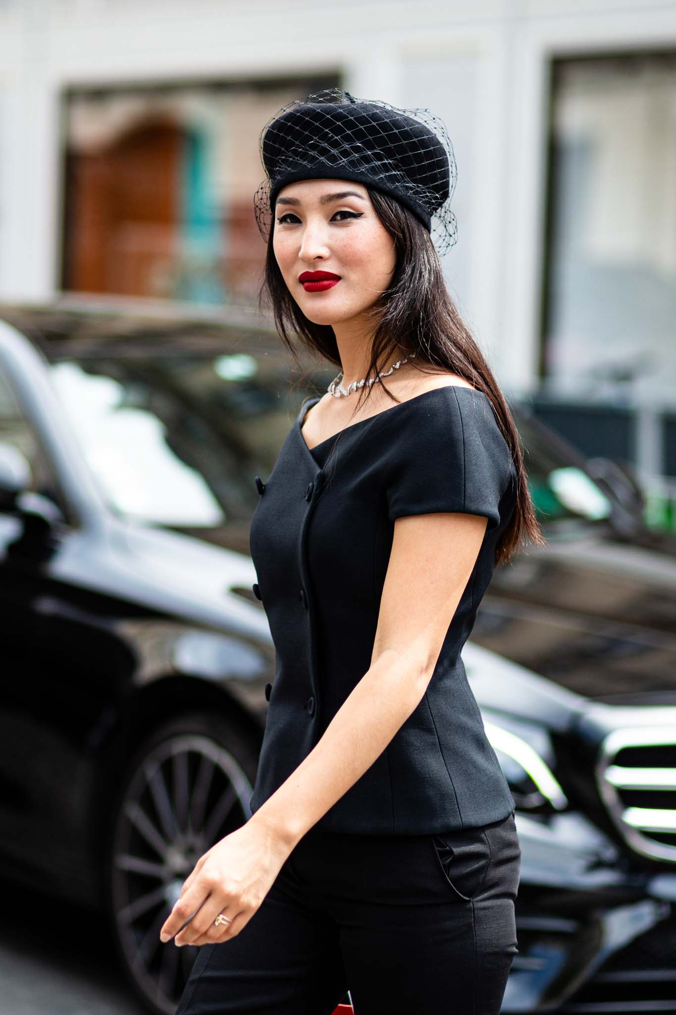 accessorize your hair long brown straight hair black hat