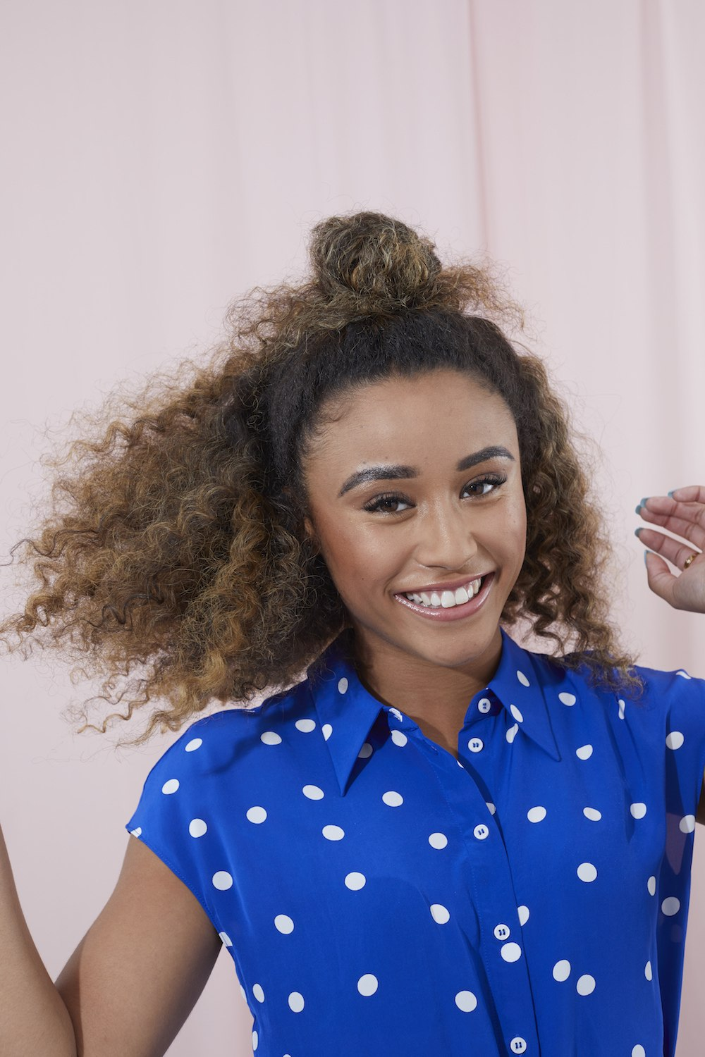 professional work hairstyles curly hair half updo