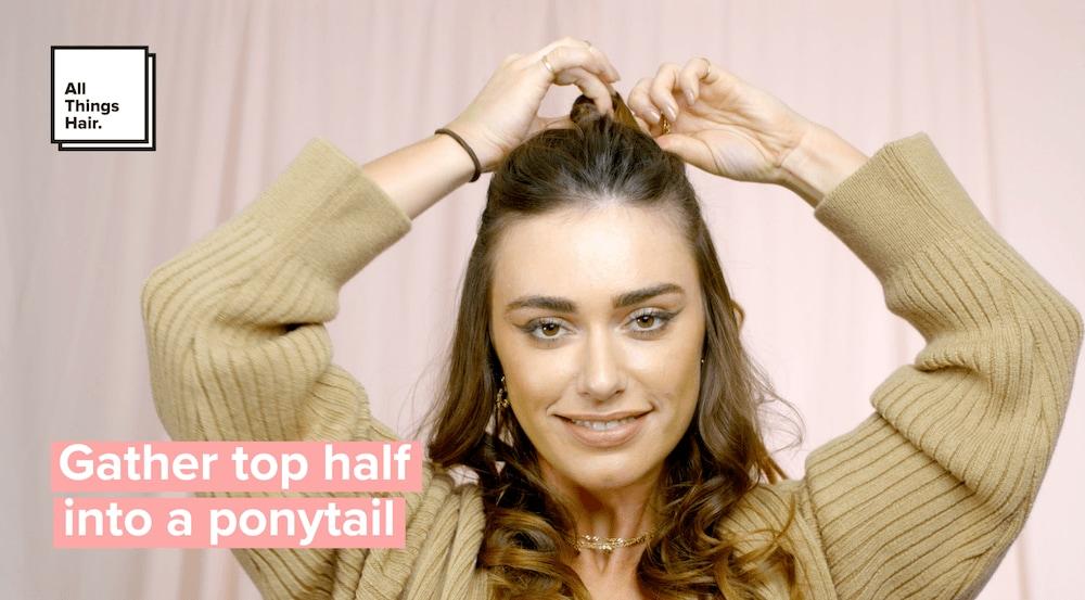 half-updo gather hair