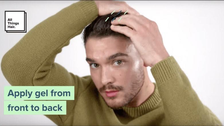 slicked-back hair for men step 2