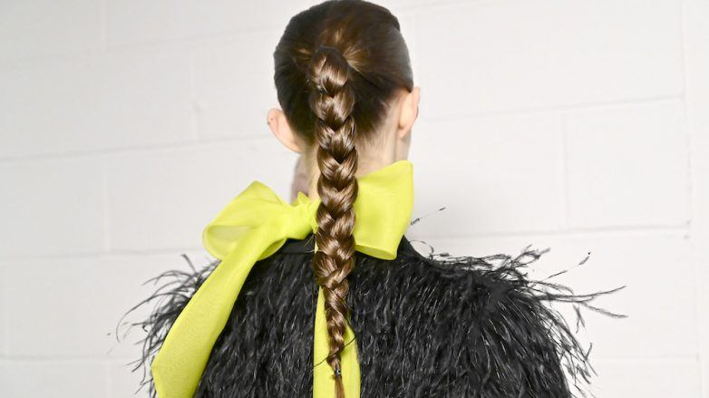 twisted ponytail brunette