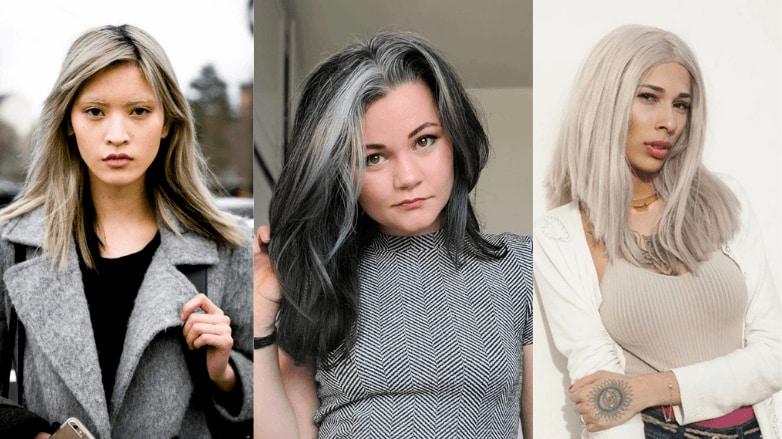girls with gray medium length hair