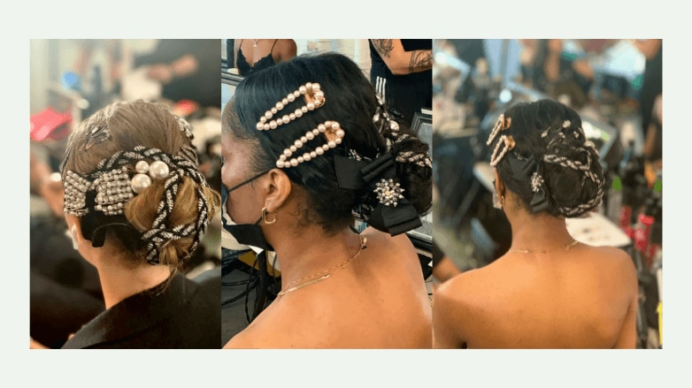 alice and olivia ss 2022 bejeweled bun