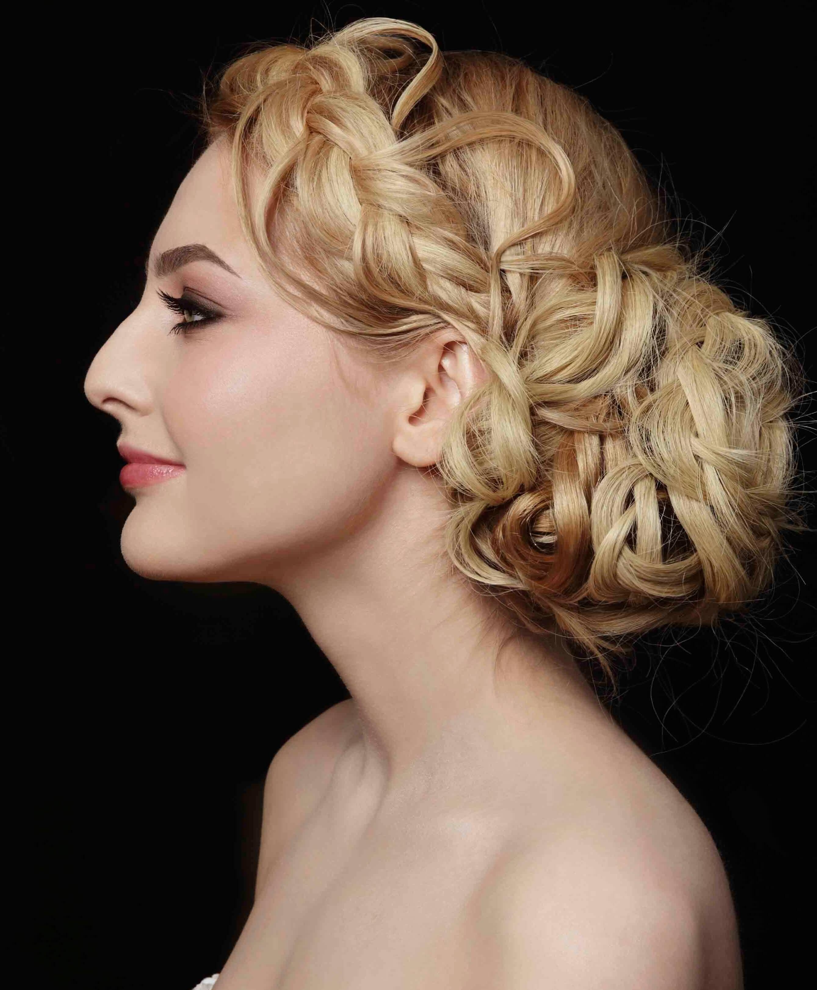 blond Dutch braided wedding chignon