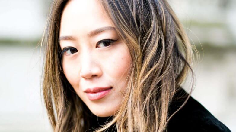 Asian women's brown hair highlights