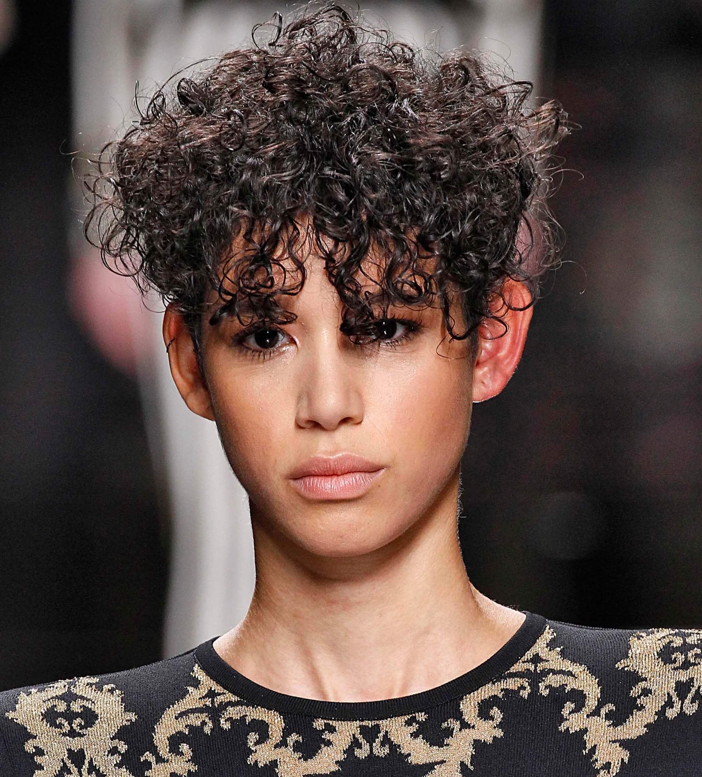 natural curly black hair in pixie cut