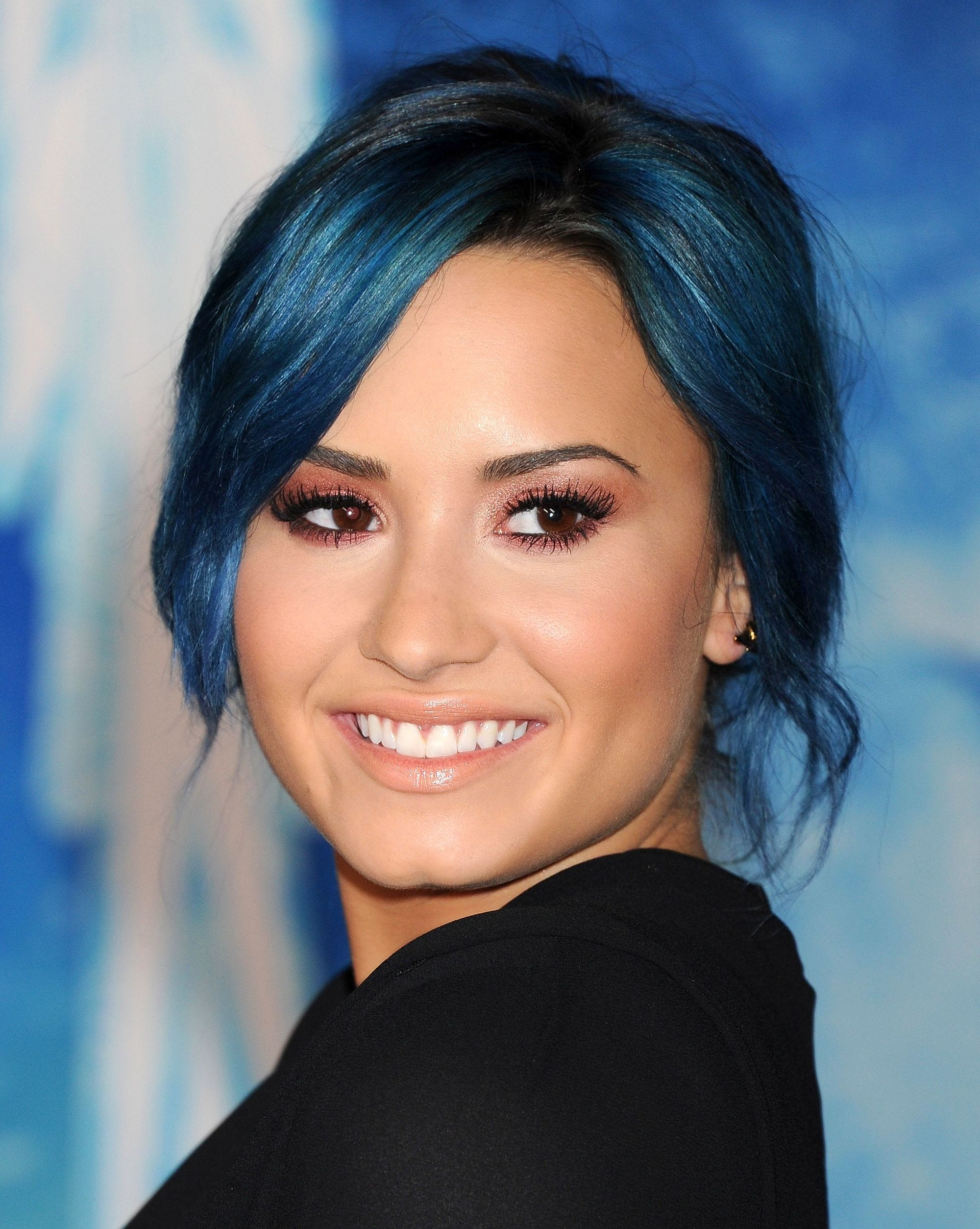 Blue hair: Demi Lovato with blue hair in an updo
