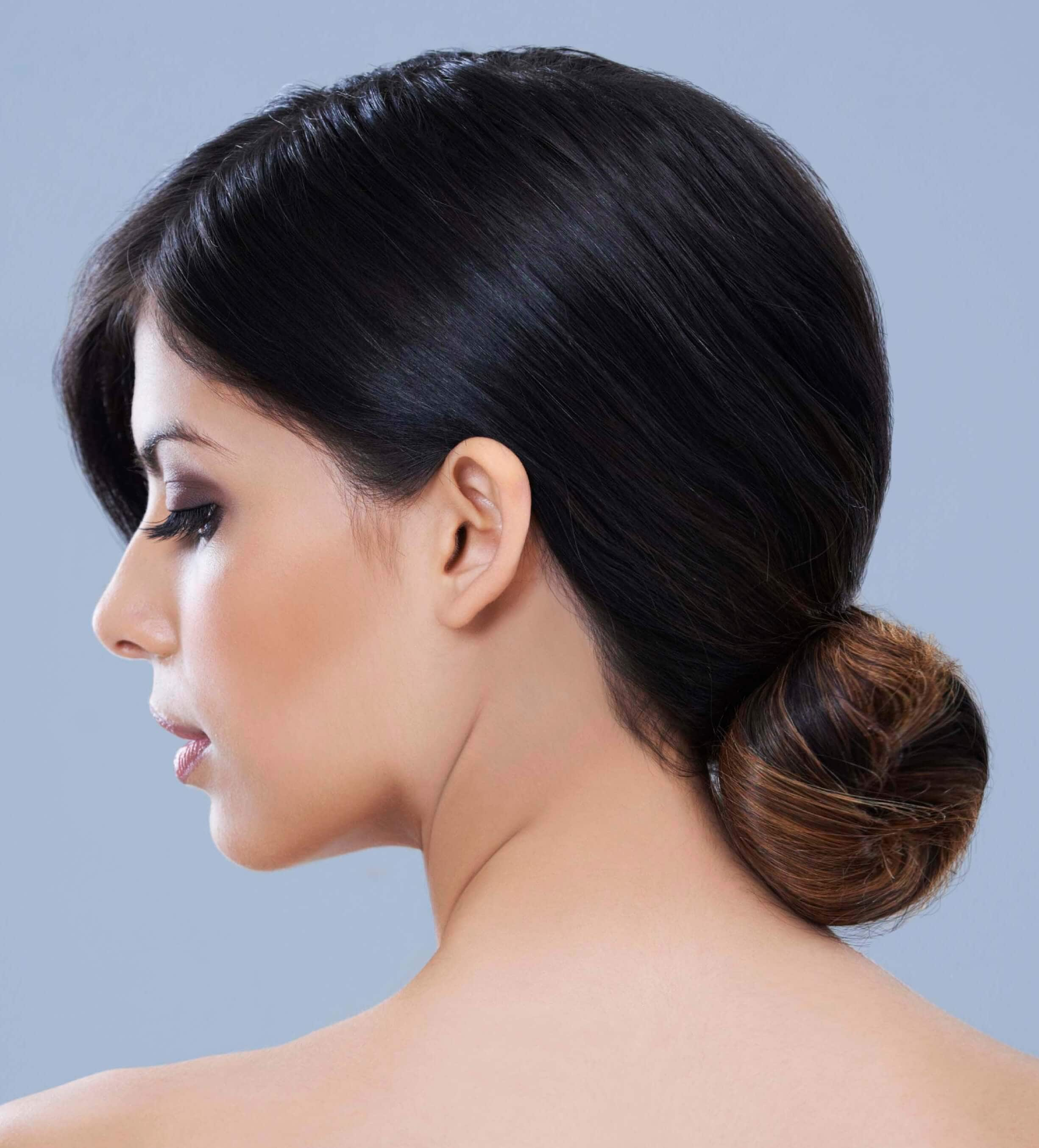 Simple brown haired chignon