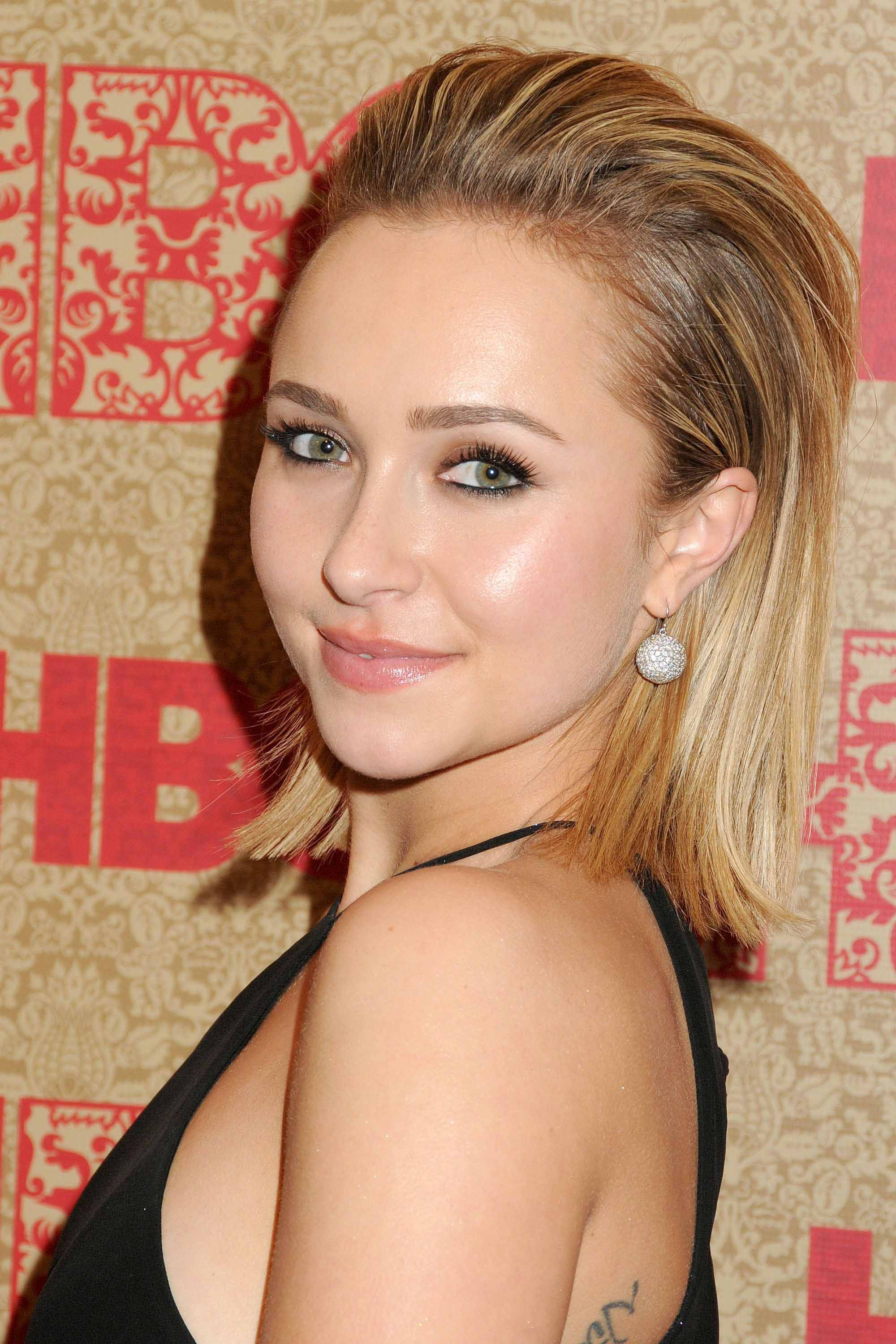Brown hair with blonde highlights: Hayden Panettiere with slicked back honey blonde bob length hair