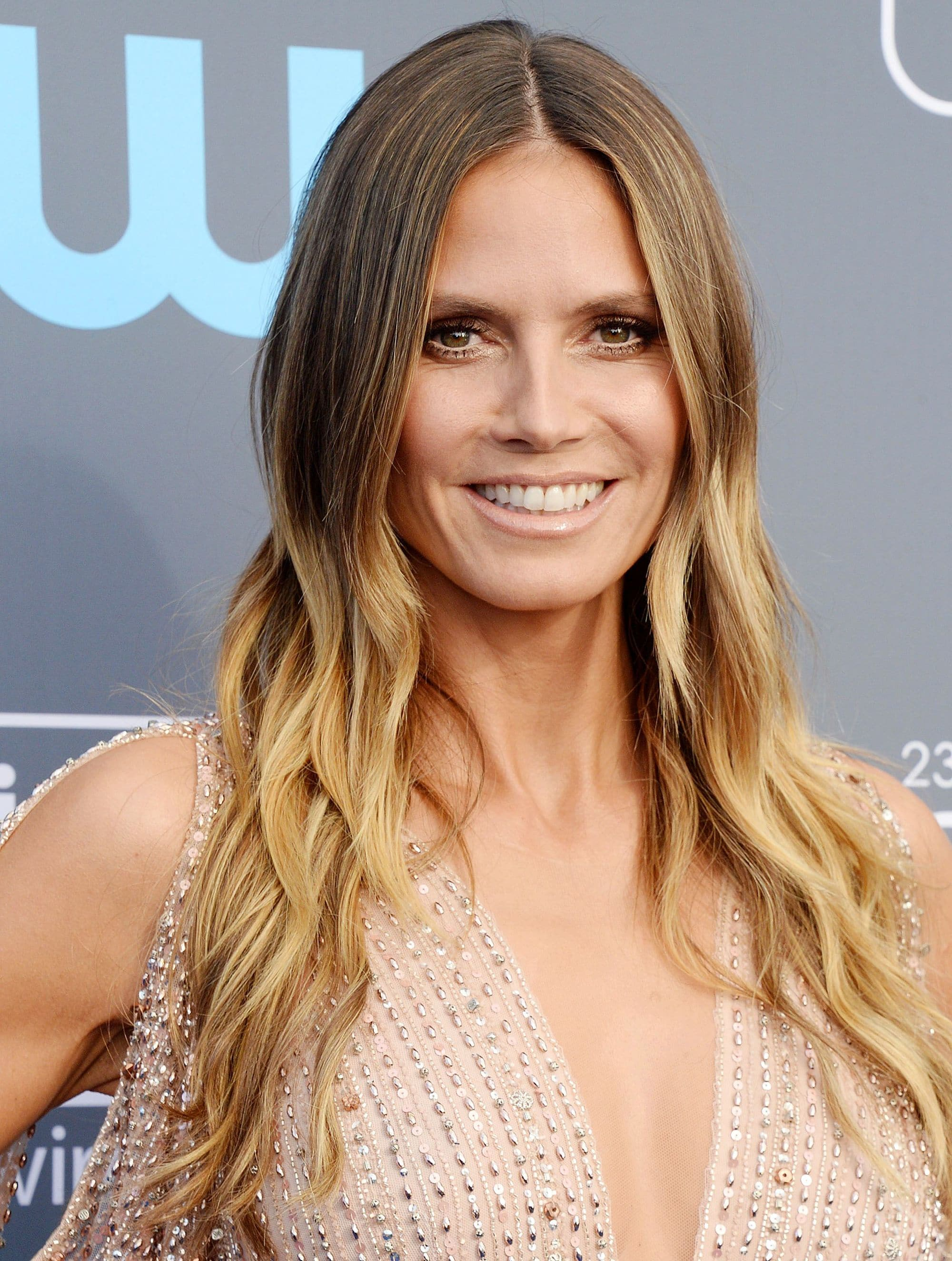 heidi klum long blonde ombre hair