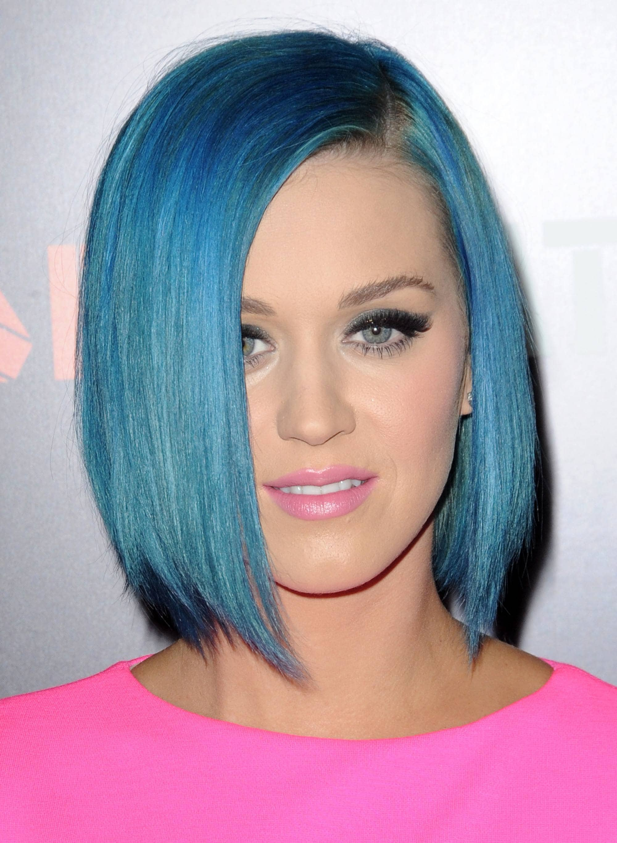 Blue hair: Katy Perry with a sleek blue bob, wearing pink
