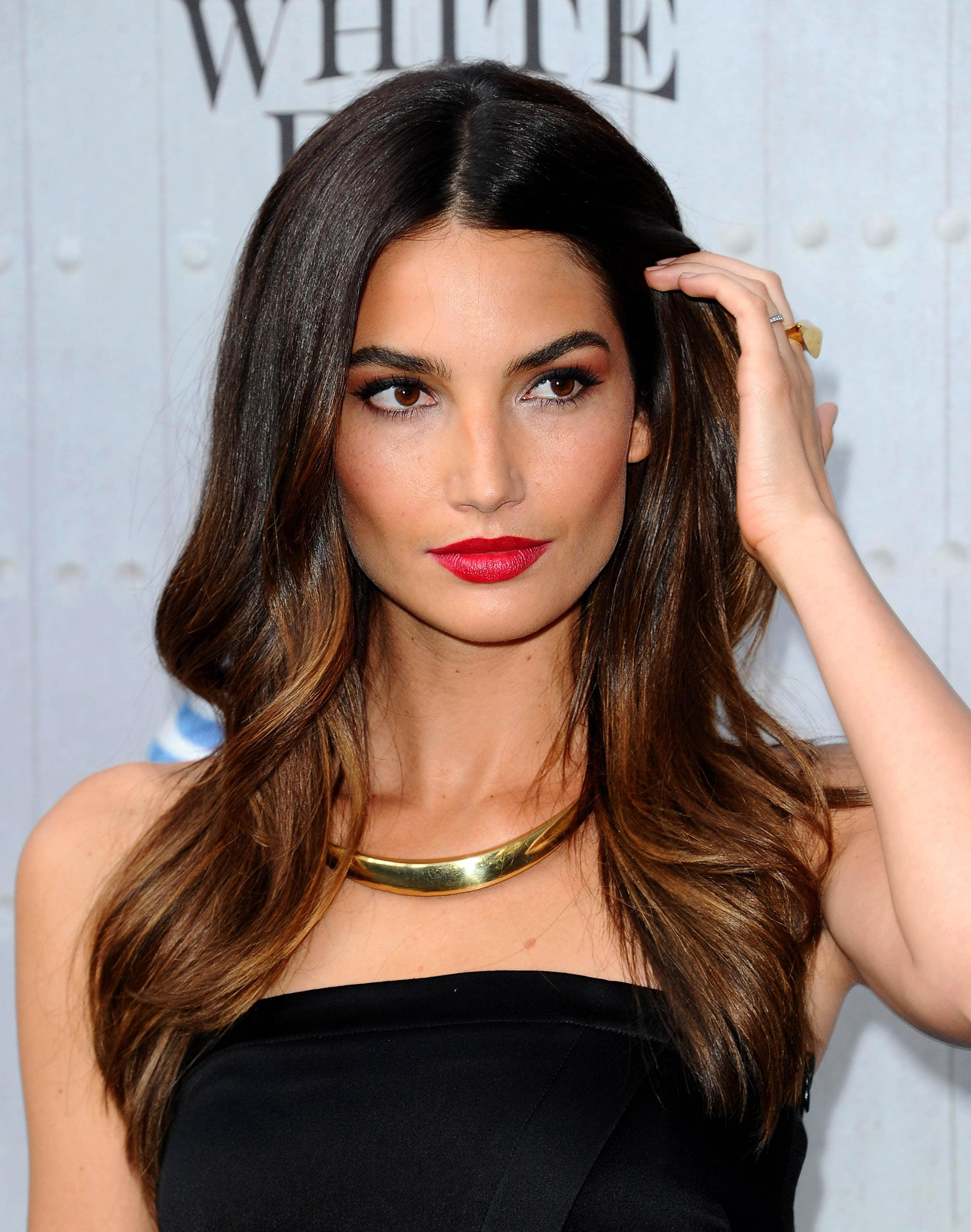 lily aldridge long dark hair with