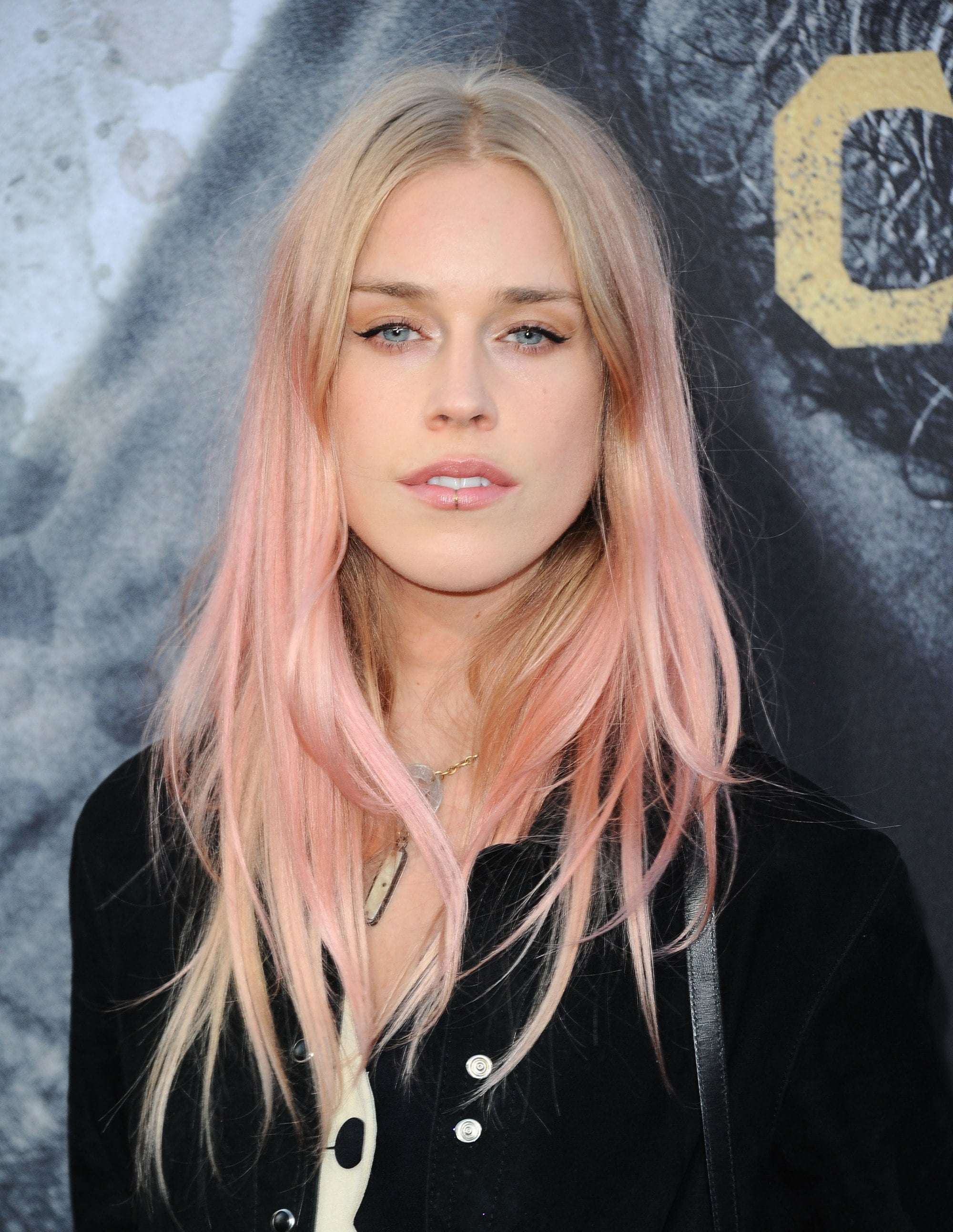 mary charteris long pastel pink ombre hair