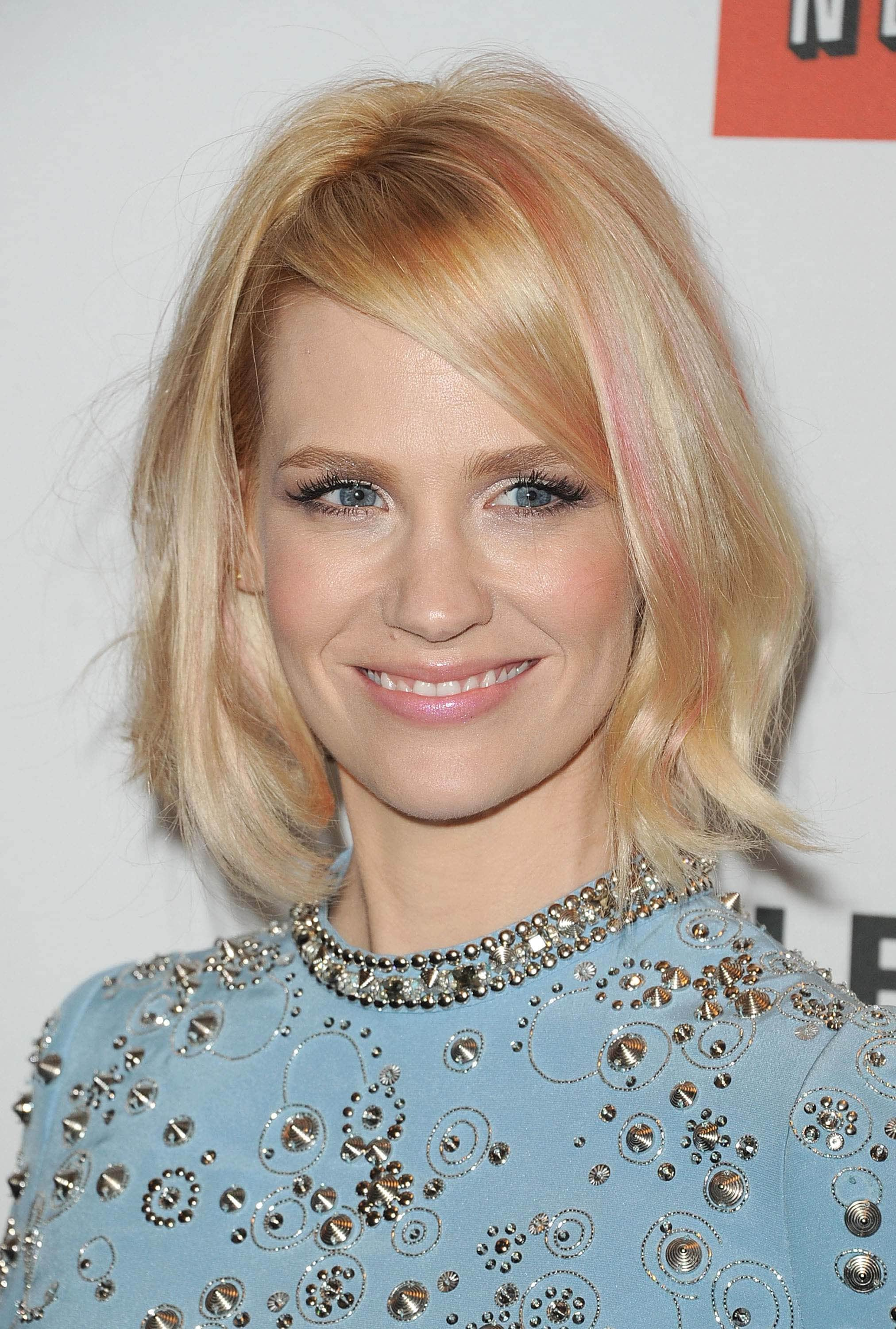 hot pink hair streaks january jones