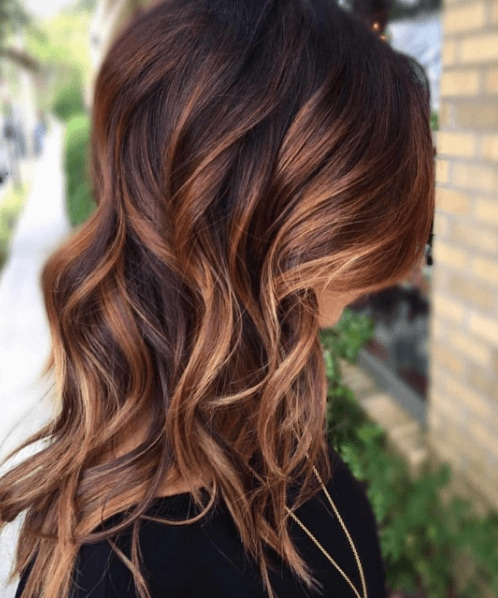 Brunette Balayage with warm reds