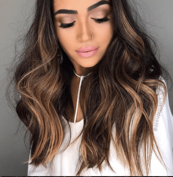 brunette balayage with caramels