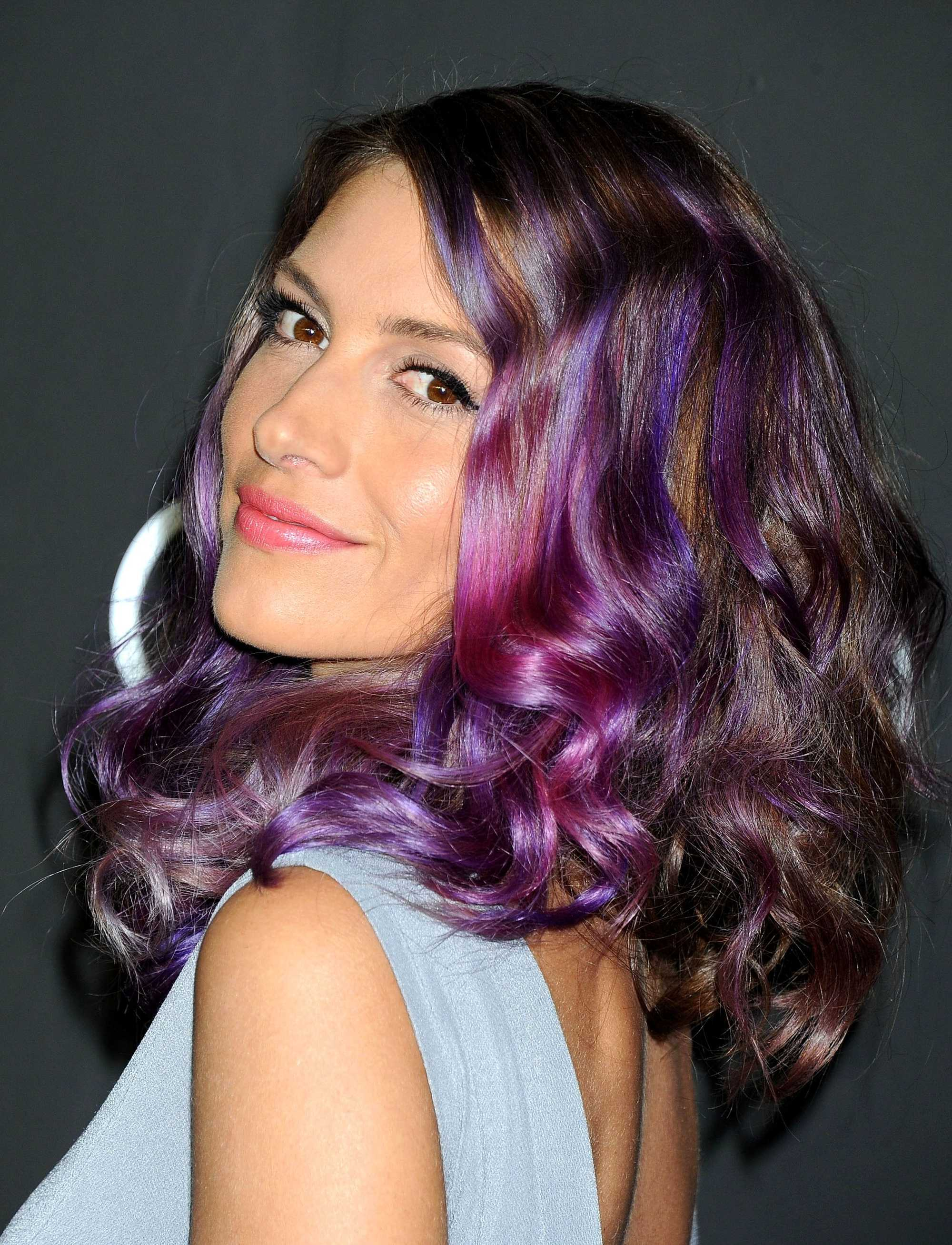 dawn olivieri with purple highlights in her hair