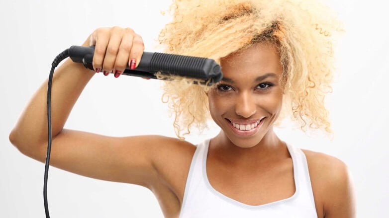 Blonde nautral hair with straightener