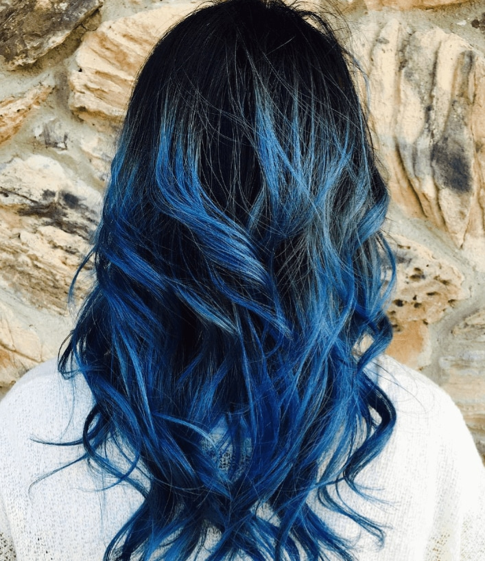 dark hair with blue ombre