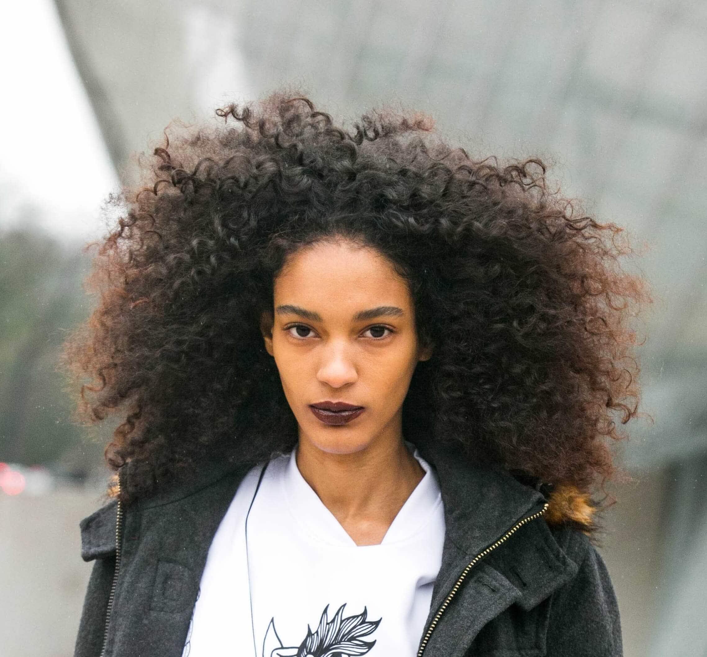 Black girl with dark chocolate hair