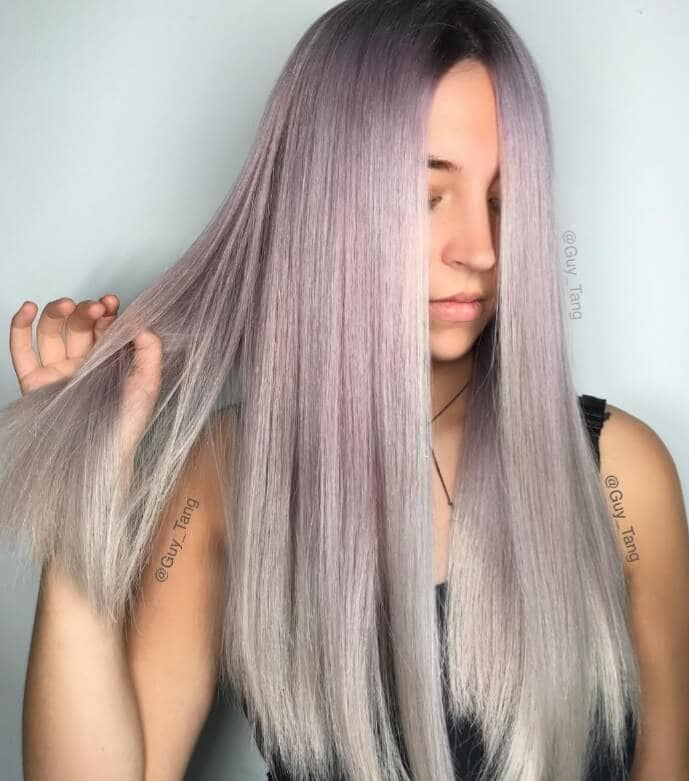 Instagram @guy_tang soft lilac grey ombre hair