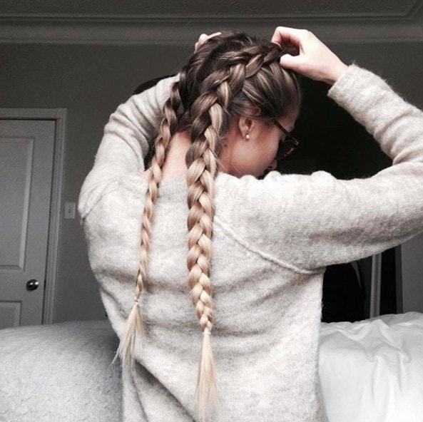 Hair trends: Long blonde ombre hair in double dutch braids.