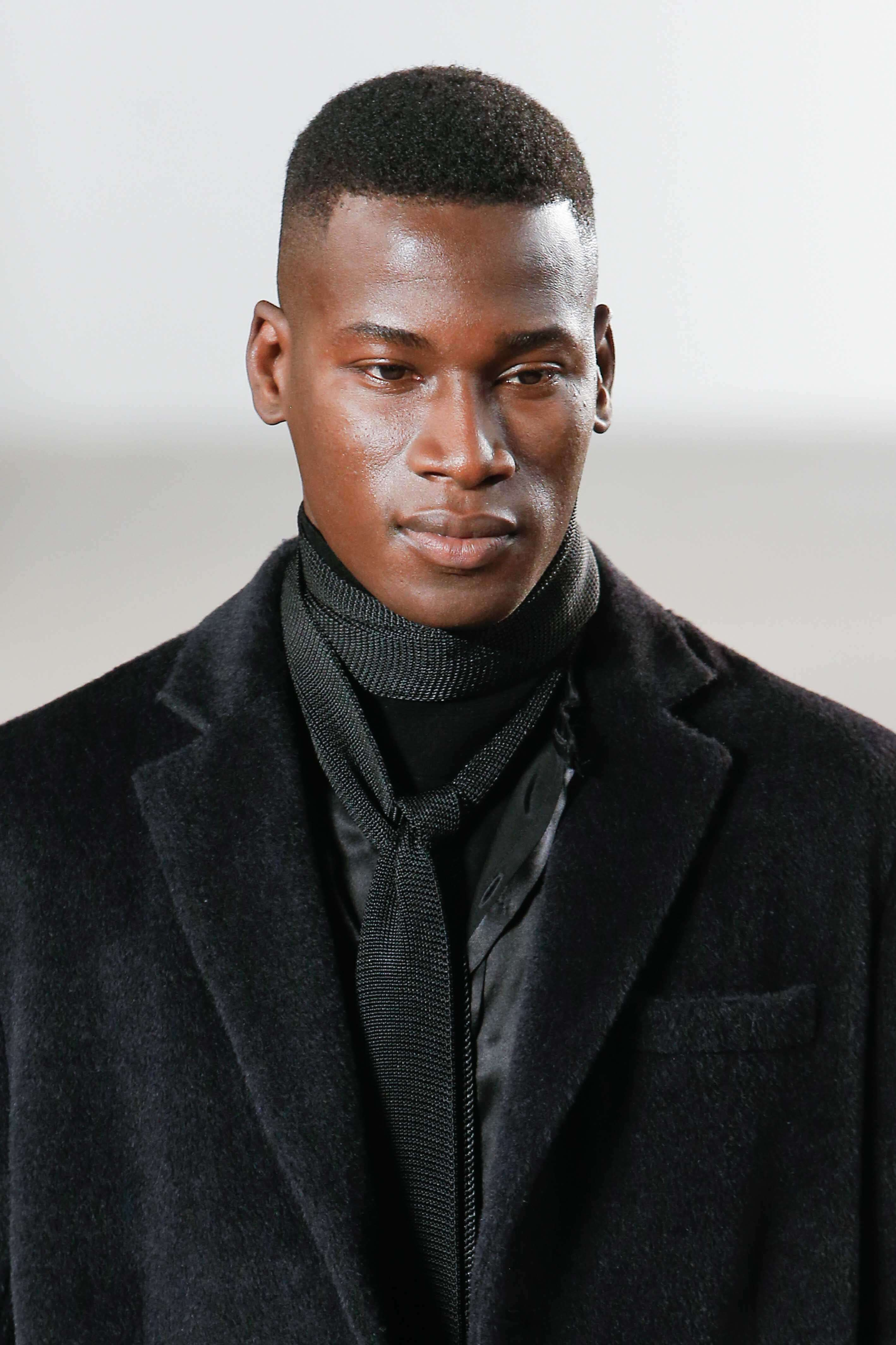 black man with high and tight haircut