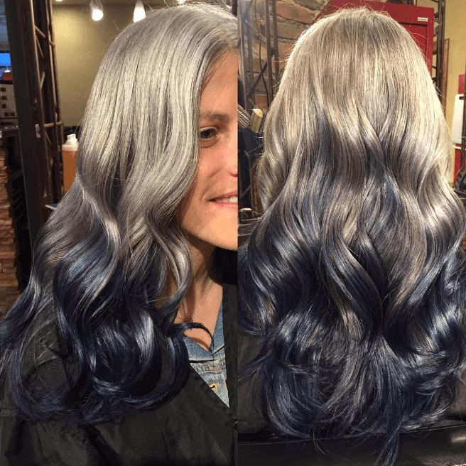 long grey blue reverse ombre hair