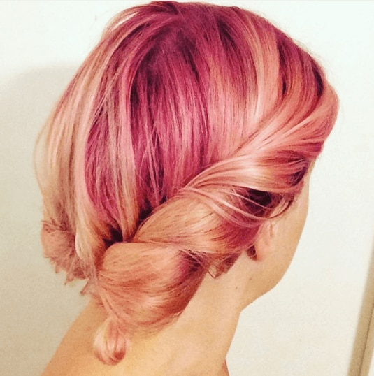 Pink ombre hair: peach and pink ombre hair