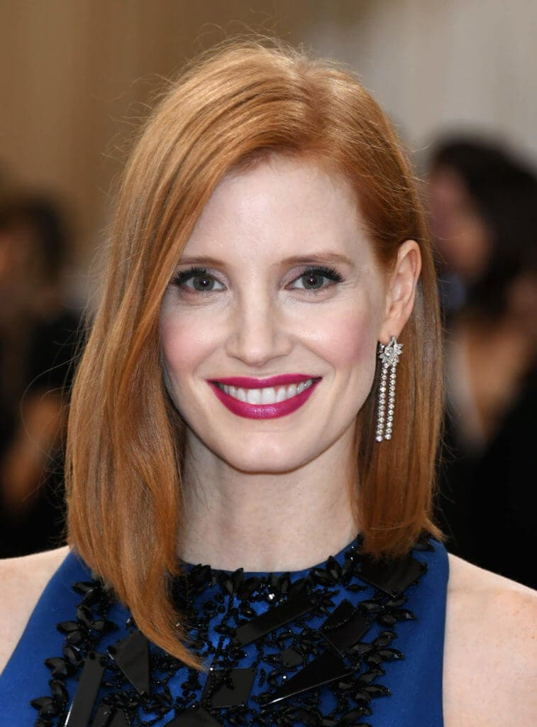 Jessica Chastain with red hair in a long bob hairstyle
