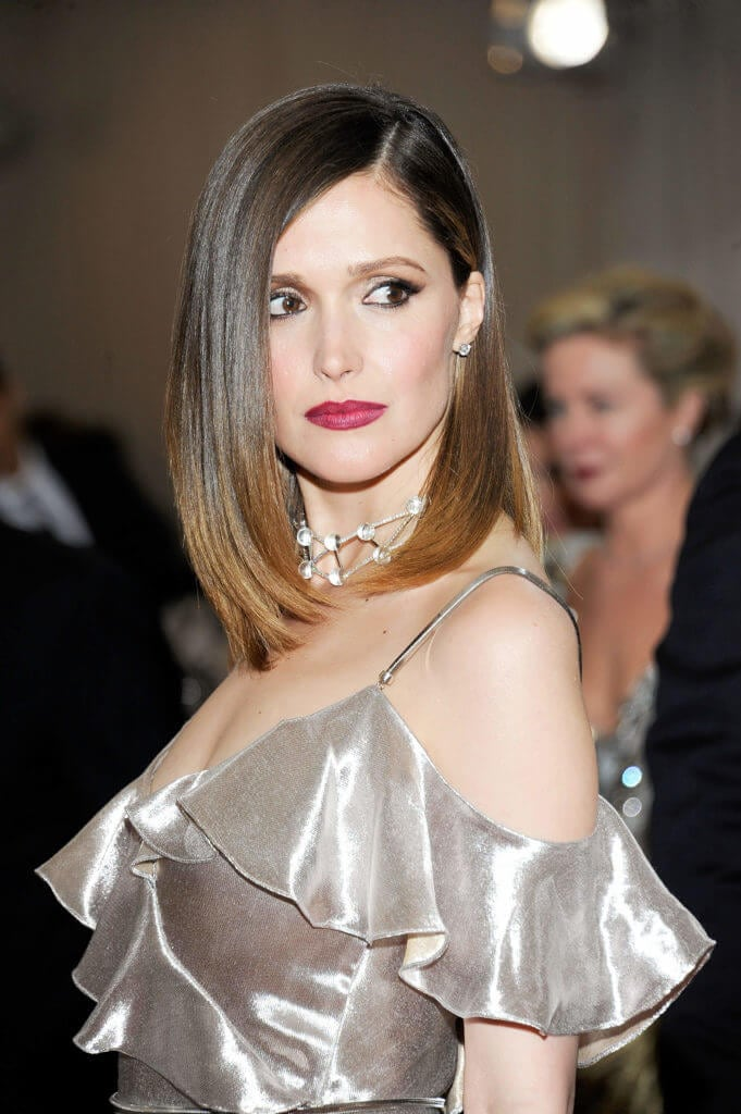 Rose Byrne with a subtle dark ombre and sleek long bob hairstyle