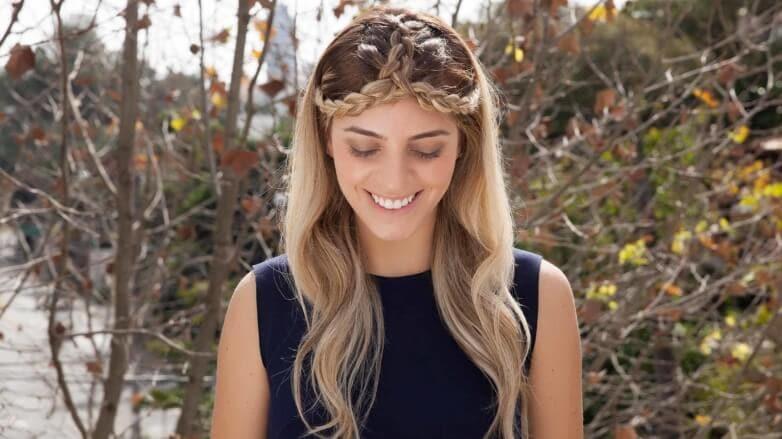complete blonde crown braid