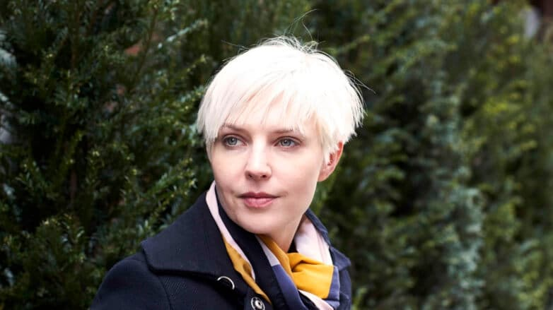 Woman with short bleached hair