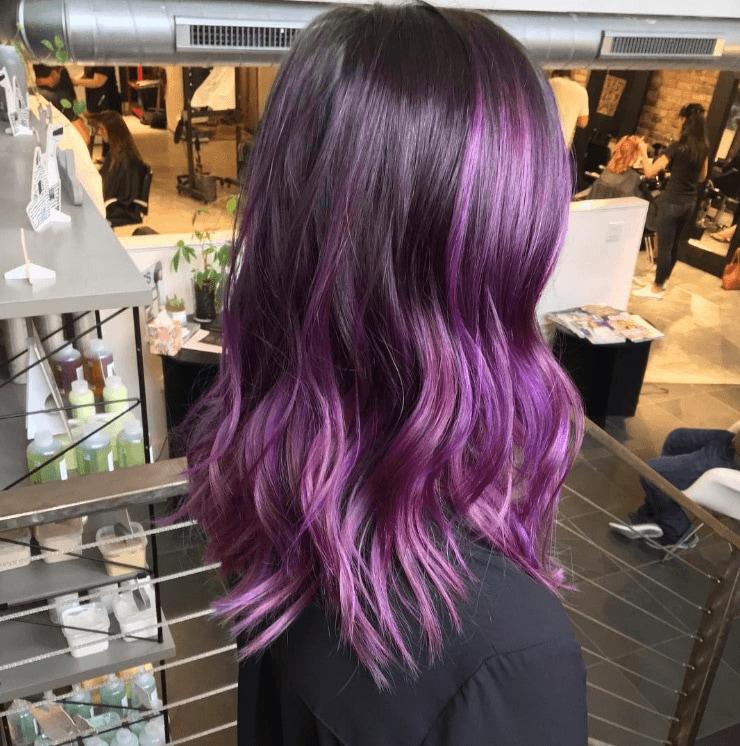 purple balayage on dark hair
