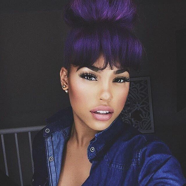 purple blunt fringe and high bun