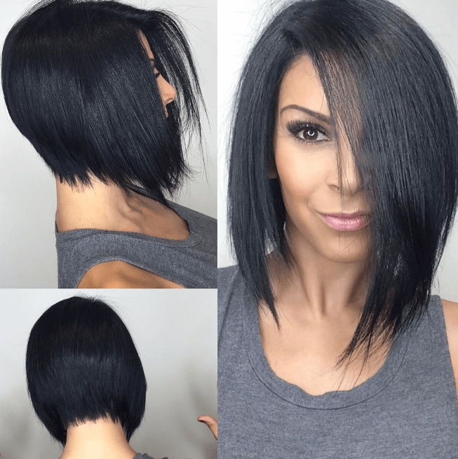 three images of a woman with straight dyed black hair worn in a sleek bob