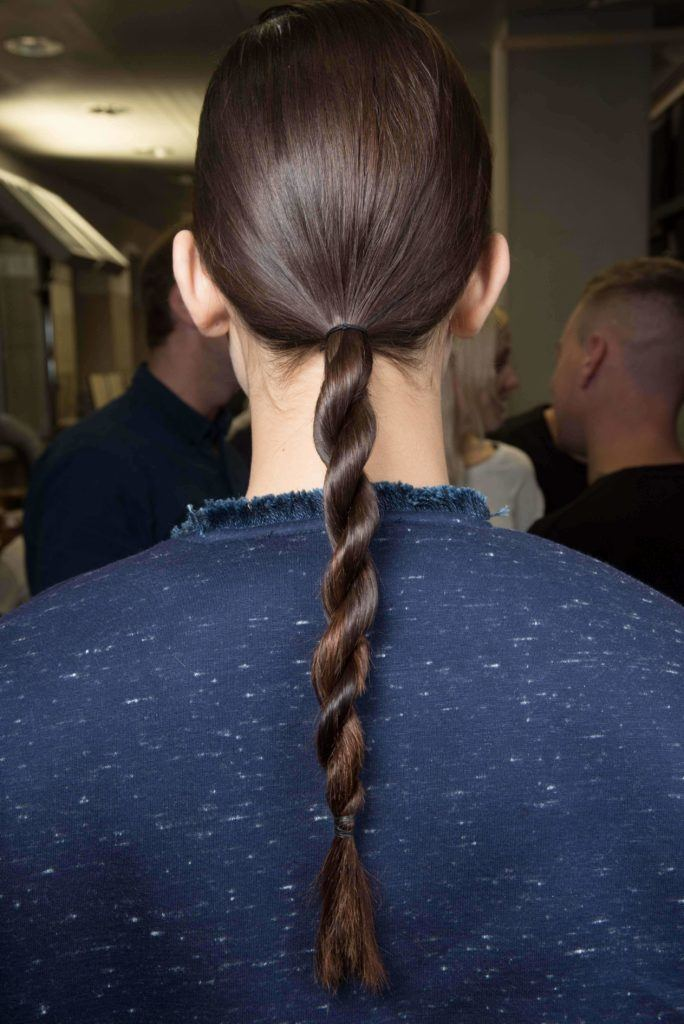 Ponytail - model with rope braid low ponytail at Sportsmax ss16
