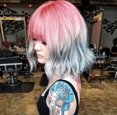 Tri-ombre mermaid hair colour on short hair with a fringe: Instagram @bescene