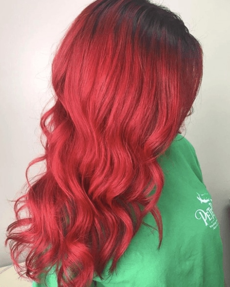 Red 'ariel' mermaid hair colour from Instagram by @chateau_michelle