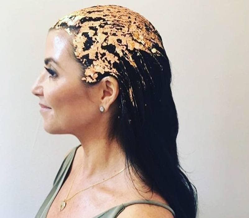 woman with gold leaf hair foiled hair on instagram