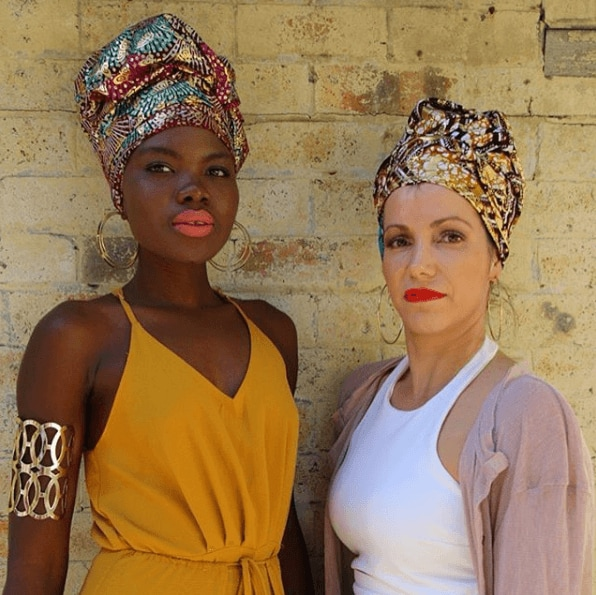 Festivals accessories: black and white women with headwraps
