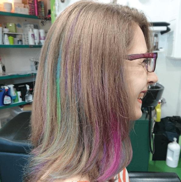 Rainbow hair dye: Concealed rainbow hair