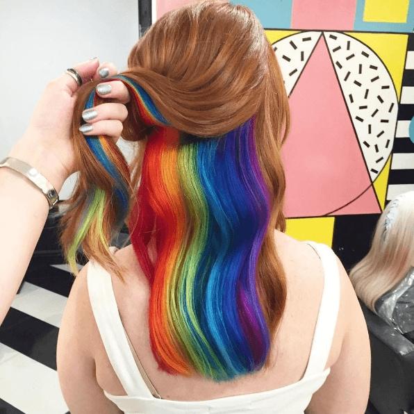 Rainbow hair dye: hidden rainbow hair dye final look