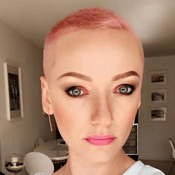 ultra short pixie pastel pink hair
