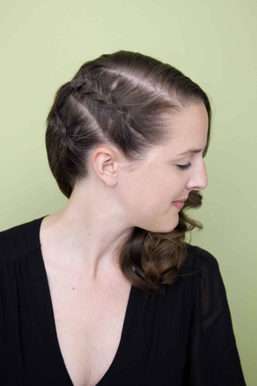 side cornrows in medium brown hair